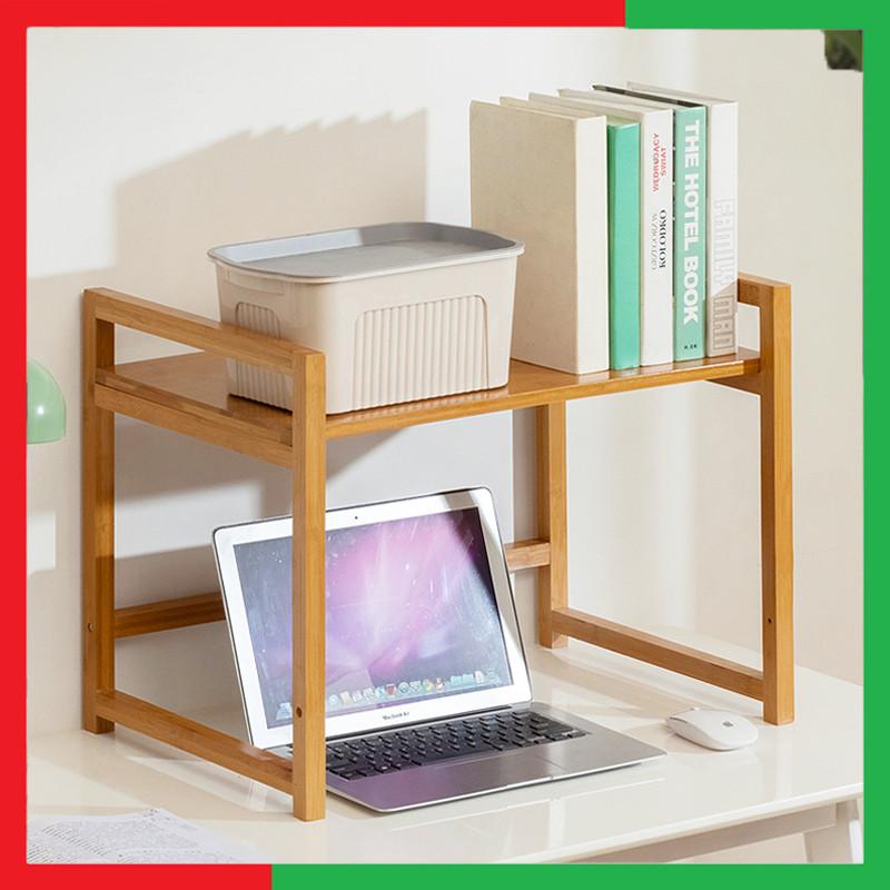 Giá kệ gỗ thông minh máy tính 2 Tầng có kệ để Sách tiện dụng,Giúp cho bàn làm việc gọn gàng hơn,Kích thước 57 x 40 x 44 cm,Sử dụng Gỗ tre tự nhiên,Màu vàng gỗ tre - Giá kệ để đựng sách và máy tính