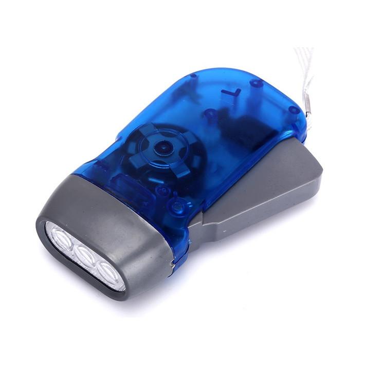Đèn pin cơ tay mini không dùng pin chuyển hóa cơ năng thành điện năng  -Giao màu ngẫu nhiên ( Tặng kèm miếng thép để ví đa năng 11in1 )