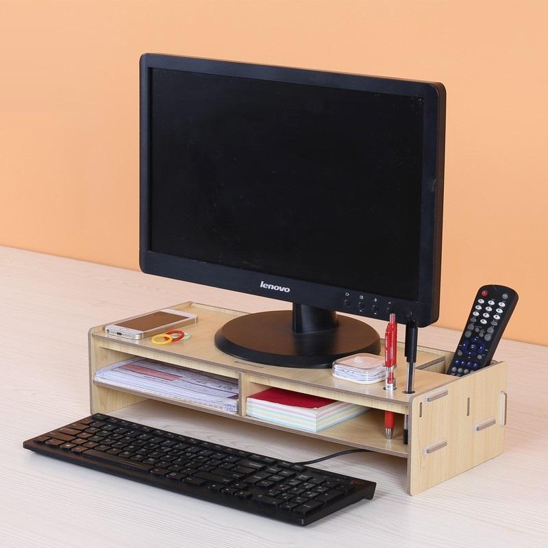 Kệ Máy tính bằng gỗ để bàn có Ngăn kéo, Khay để đồ và Ống cắm bút F5