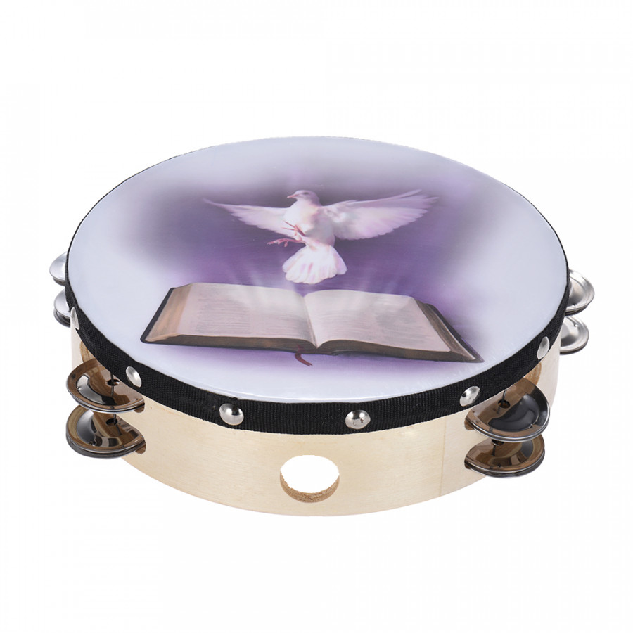 8 Double Row Jingle Tambourine Handbell Clap Drum Percussion Instrument with Dove & Bible Pattern for Church 8 Inch