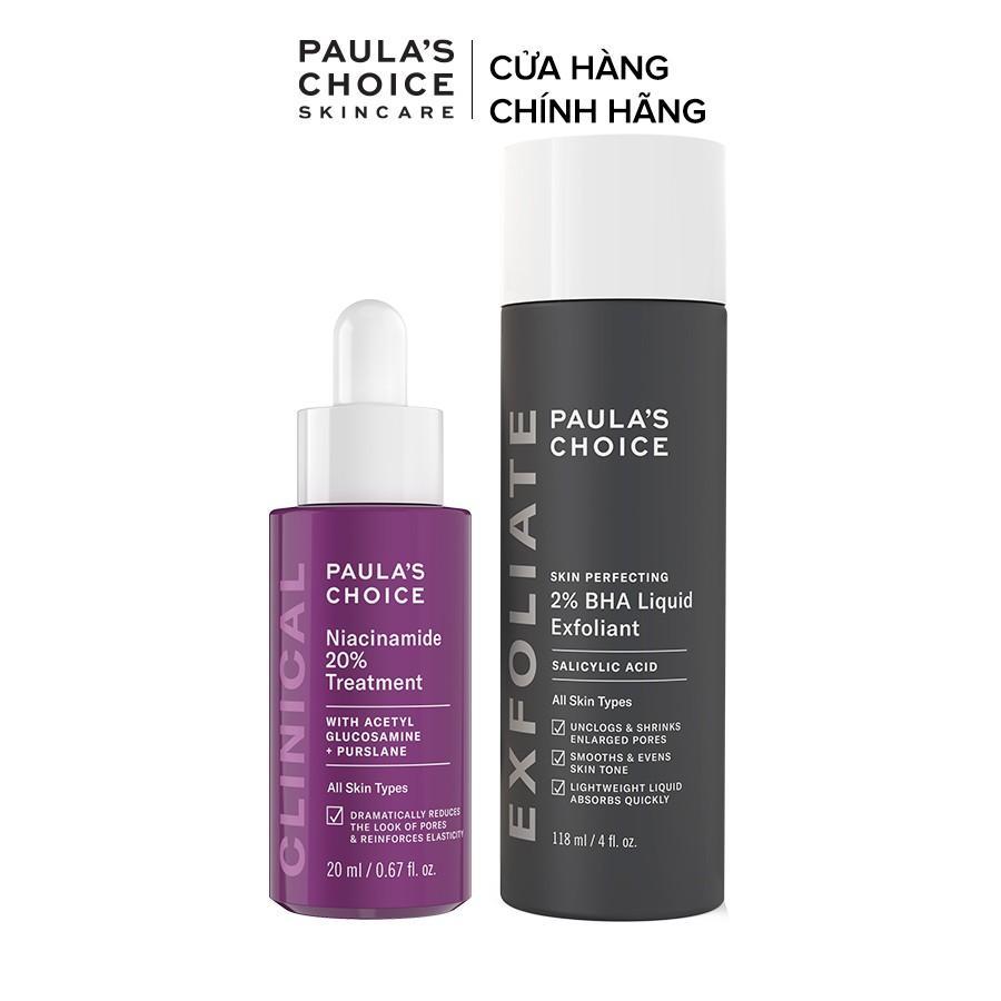 Bộ đôi se khít lỗ chân lông Paula's Choice Clinical Niacinamide 20% , Skin Perfecting 2% BHA Liquid Mã 8030.2010