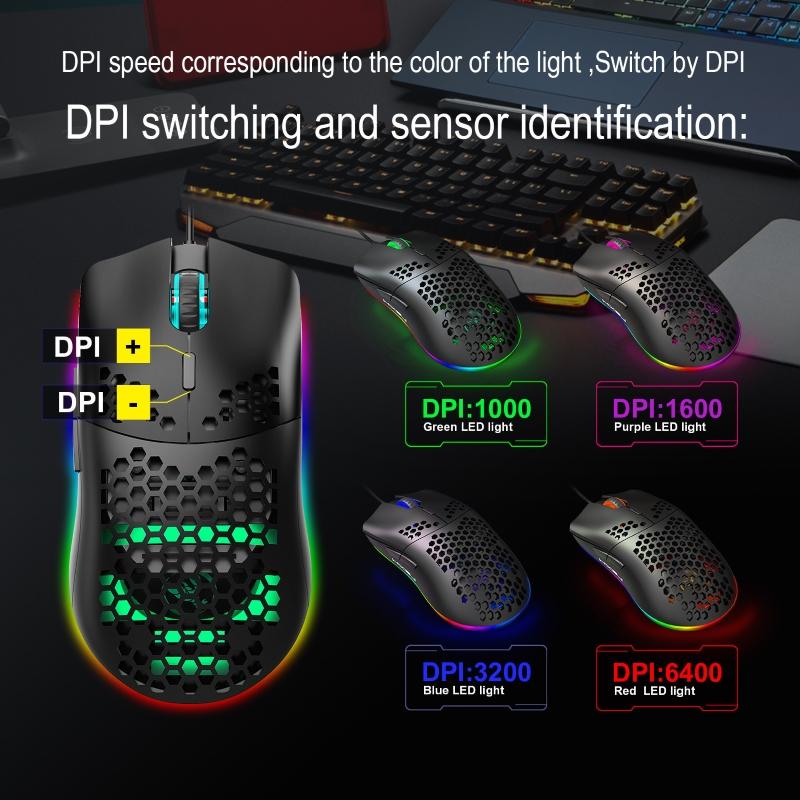 Chuột Led RGB 6400 DPI Gaming Mouse HXSJ - Hàng nhập khẩu