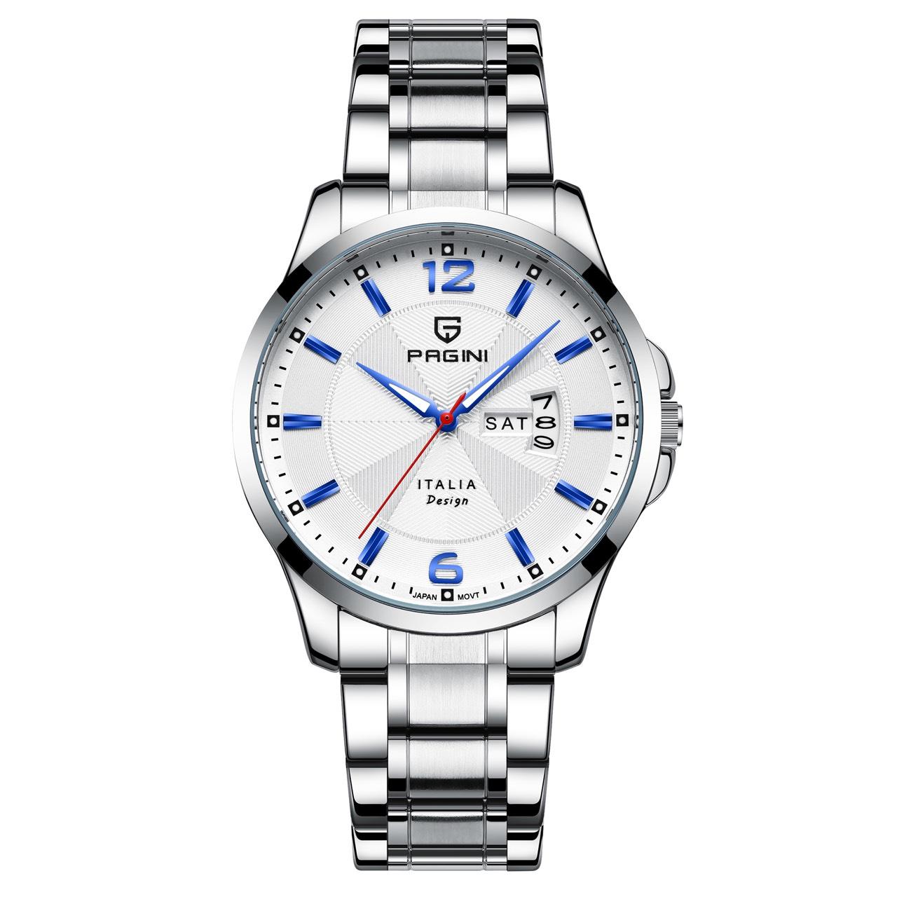 Đồng hồ nam PAGINI PA5533W dây thép không gỉ - Lịch ngày cao cấp