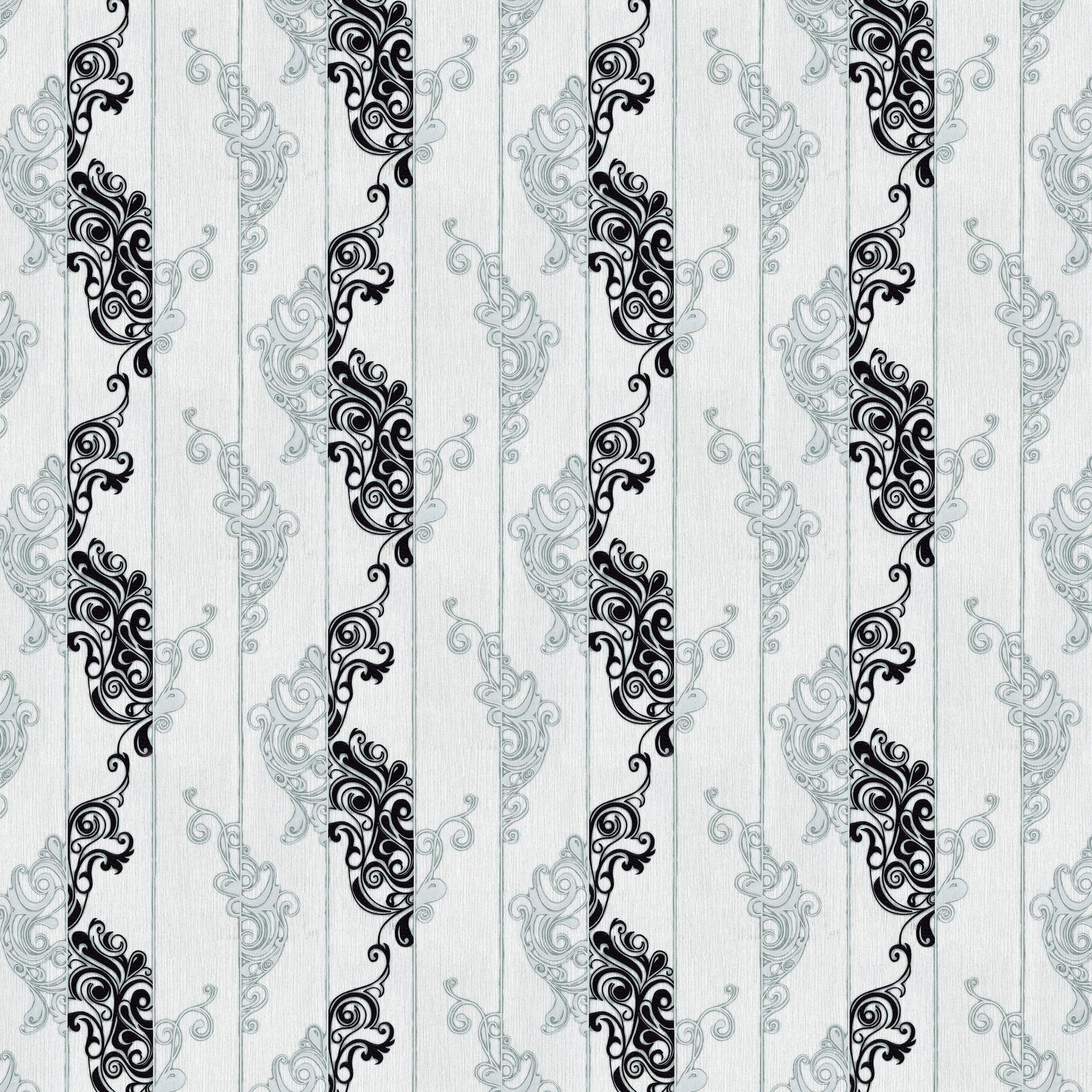 Giấy dán tường Hàn Quốc hoa xoắn đứng-màu trắng 82984-1