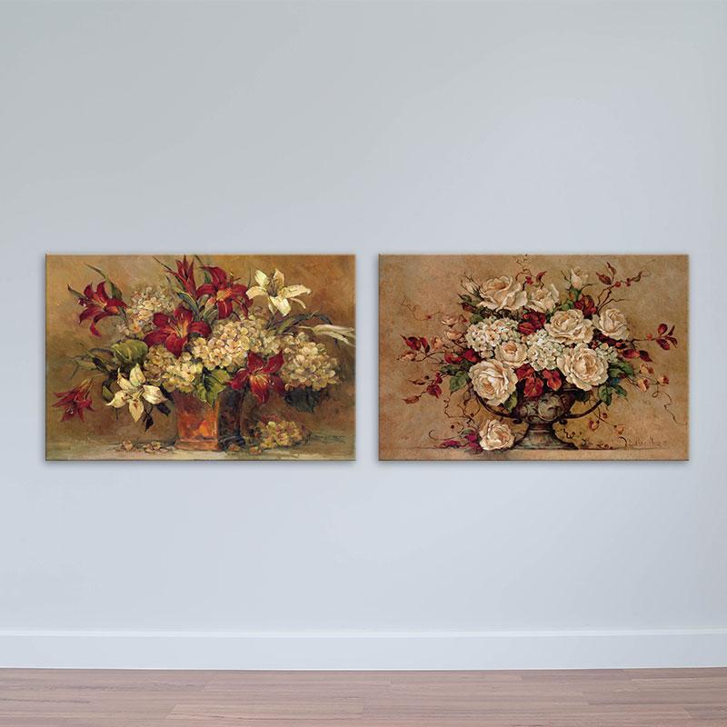 Bộ 2 tranh lọ hoa nghệ thuật | Tranh tĩnh vật cổ điển W1674