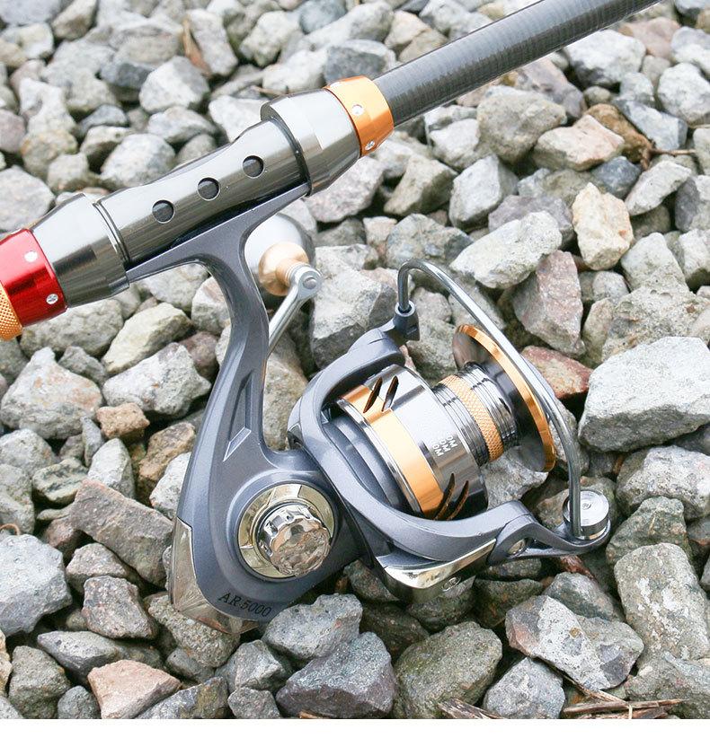Bộ cần câu cá - Cần xanh carbon cao cấp 2m4 - Kèm máy kim loại Deukio AR5000 - Tặng kèm 9 phụ kiện