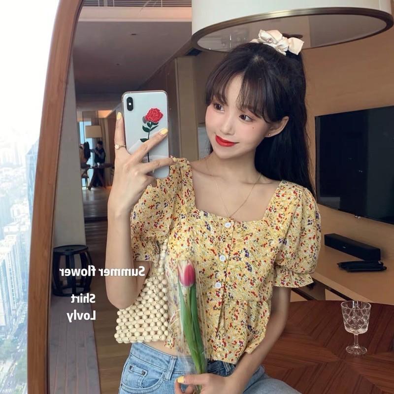 Áo croptop hoa nhí tay bồng