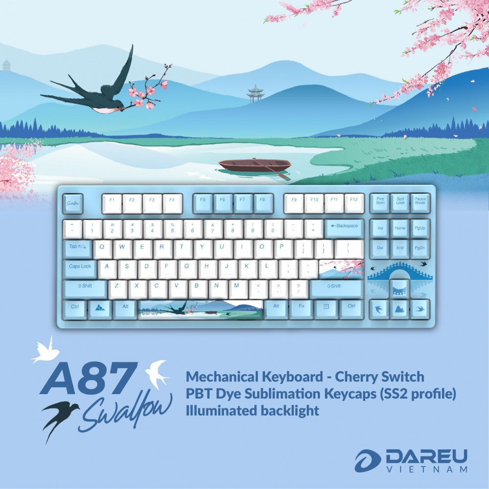 Bàn phím cơ DareU A87 SWALLOW Cherry Switch - Hàng chính hãng