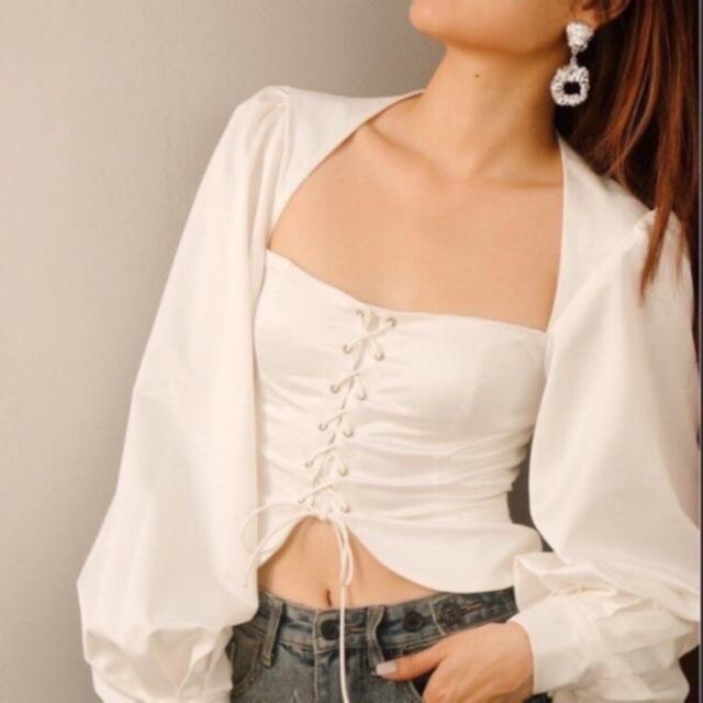 Áo kiểu tay bồng đan ngực cao cấp kt