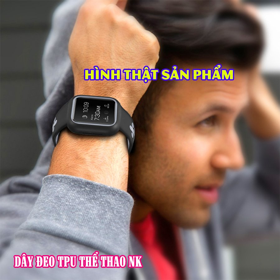 Dây Đeo liền ốp dành cho Apple Watch size 38/40/42/44mm TPU thể thao viền màu - Đen Xám (tặng dán KCL theo size)