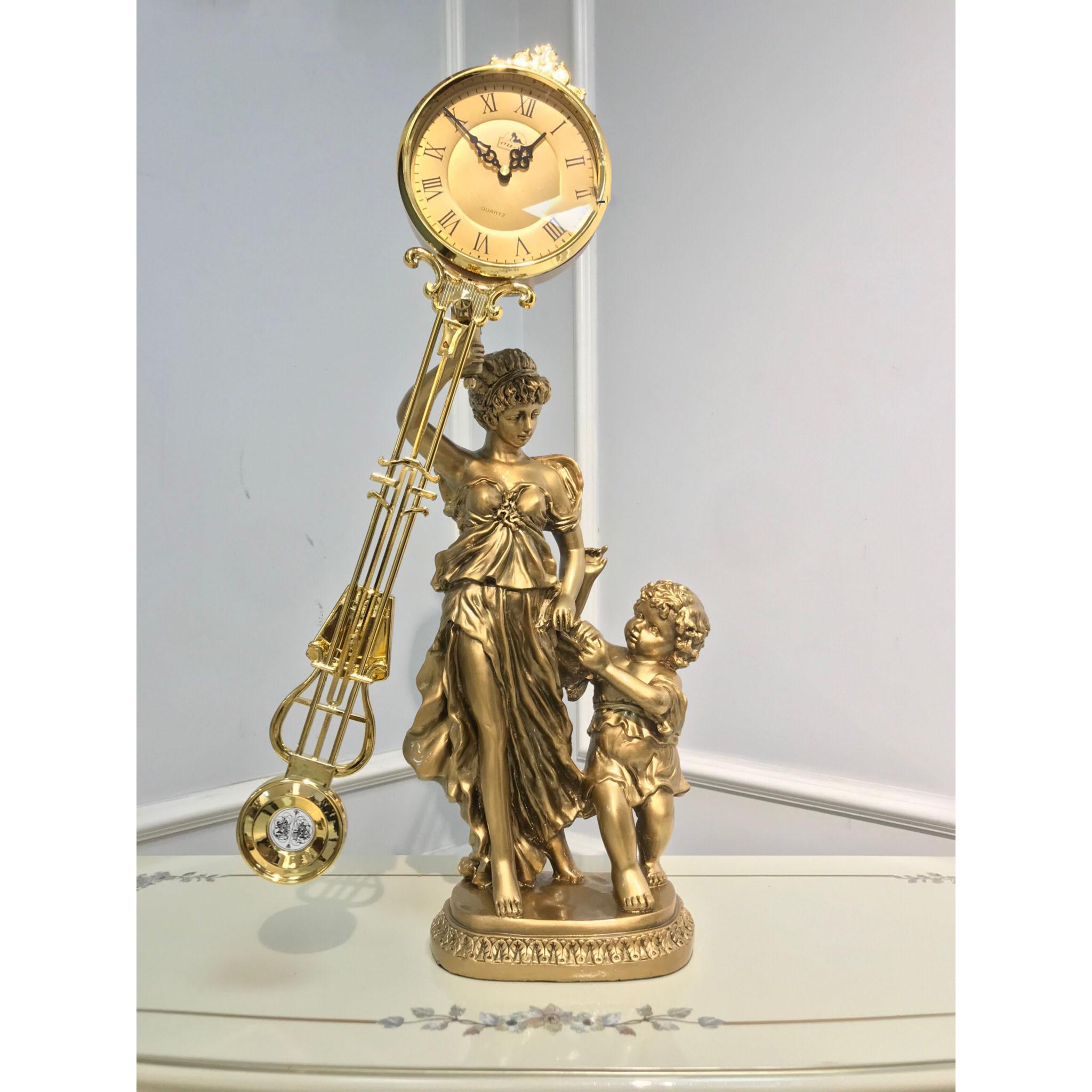 Đồng hồ quả lắc để bàn DH100mautu - Đồng hồ để bàn cổ điển đẹp sang trọng kích thước  35 x 21 x 72cm để kệ tủ trang trí phòng khách nhà ở