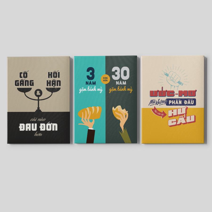 Bộ 03 Tranh Canvas Mopi Trang Trí Phòng Làm Việc - Chủ Đề Học Tập & Giáo Dục (Bộ 3 Tranh 45x60cm)