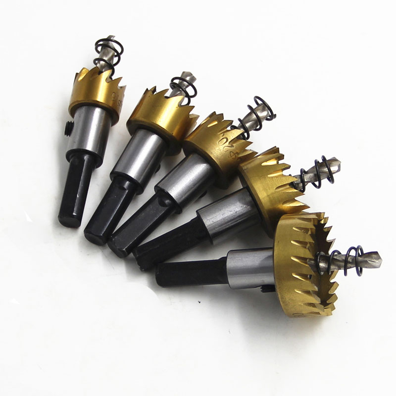 Bộ 5 mũi khoan khoét lỗ HSS V2 phủ titanium cao cấp