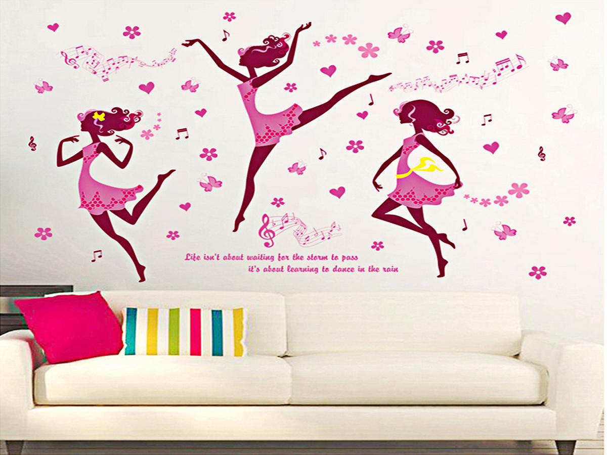 decal dán tường 3 cô gái váy hồng múa ba lê