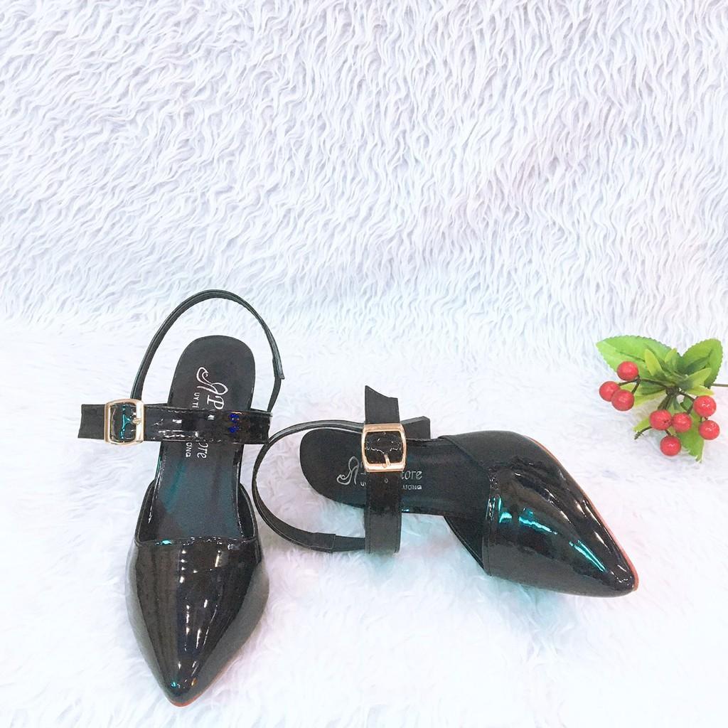Giày Cao Gót 9p Bít Mũi Da Bóng