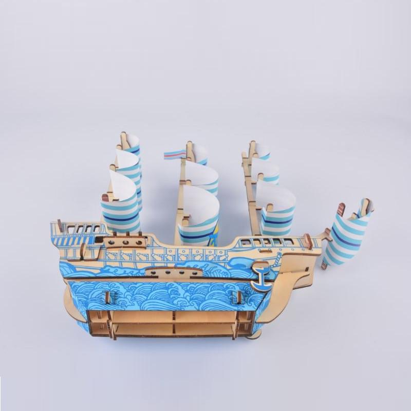 Đồ chơi lắp ráp gỗ 3D Mô hình Thuyền Dream Ship Laser