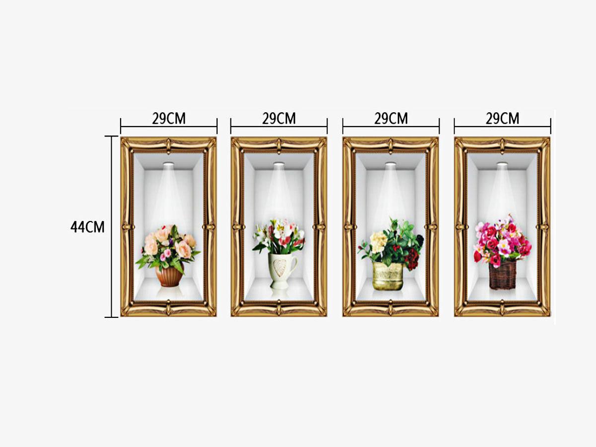 decal dán tường bốn bình hoa sk9083