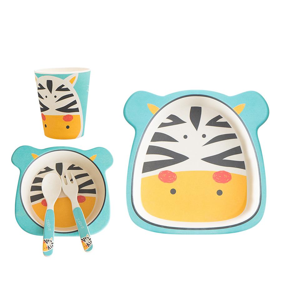Bộ Dụng Cụ Ăn Uống Bằng Sợi Tre Cho Bé Bamboo Dish Zebra Binggio