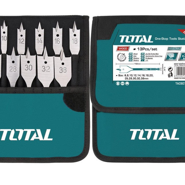 Bộ 13 mũi khoan gỗ đầu dẹp Total TACSD70131