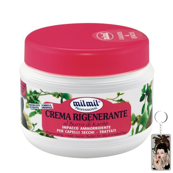 Kem phục hồi tóc tinh chất bơ Milmil Cream Karite Butter 500ml tặng kèm móc khóa