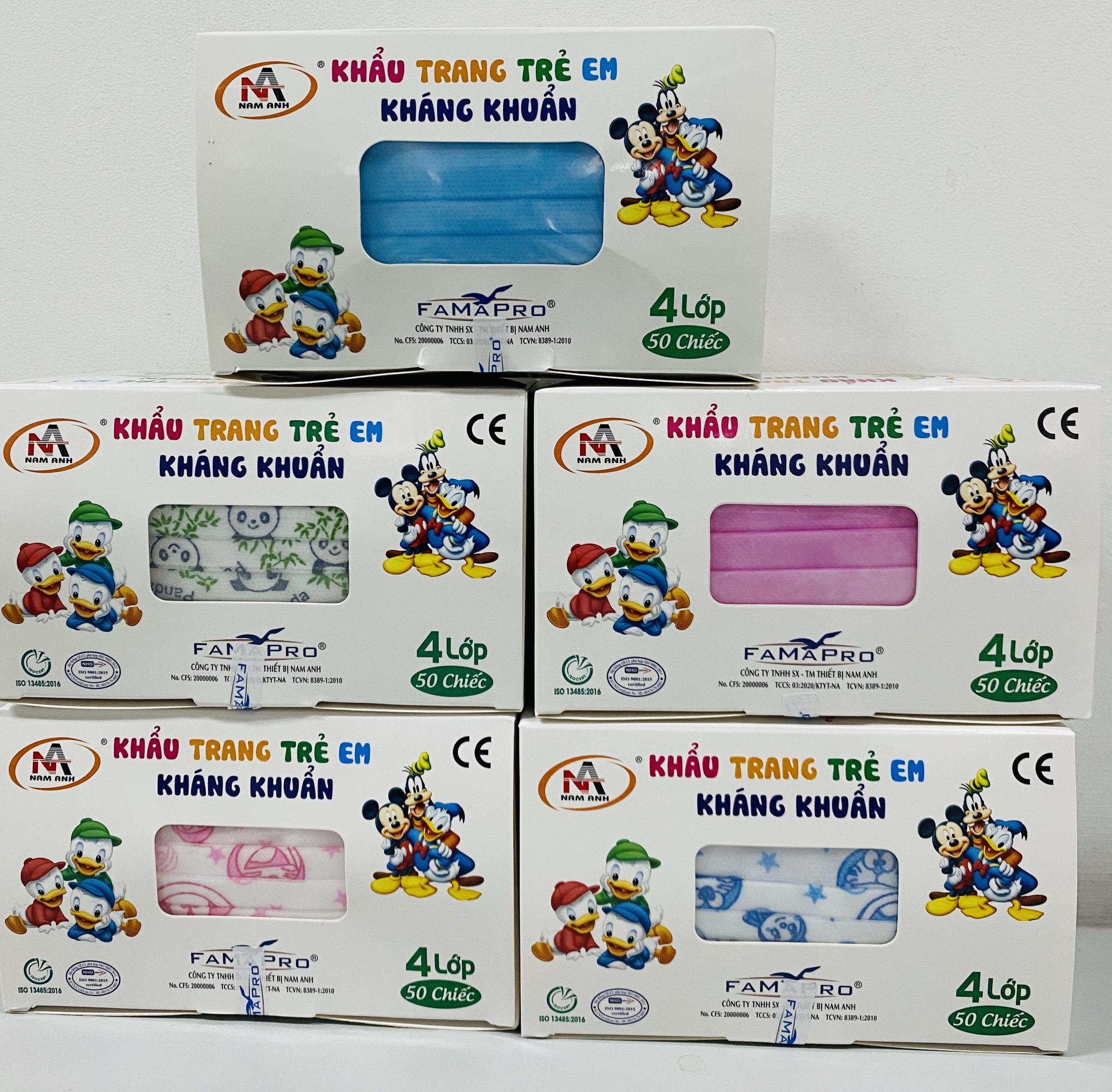 Khẩu trang trẻ em kháng khuẩn Famapro (Hộp 50 cái - Màu hồng Kitty)