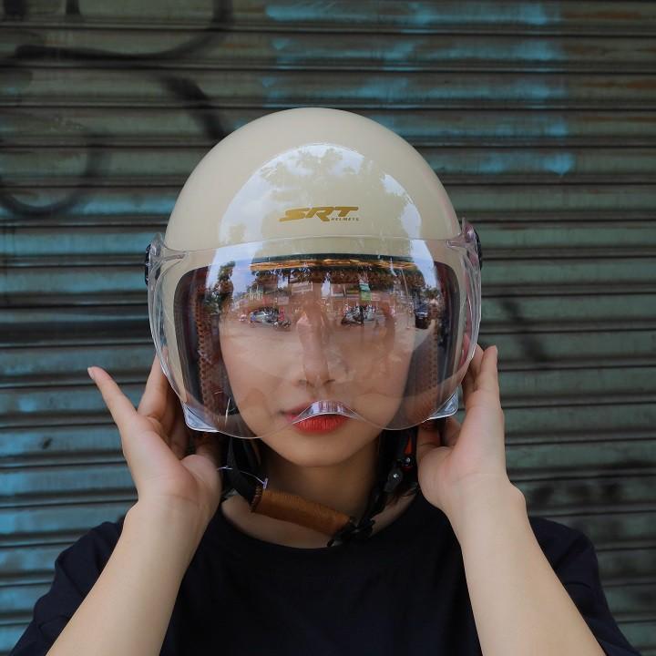 Mũ Bảo Hiểm 3/4 Kính Càng SRT Viền Đồng - Kem Bóng