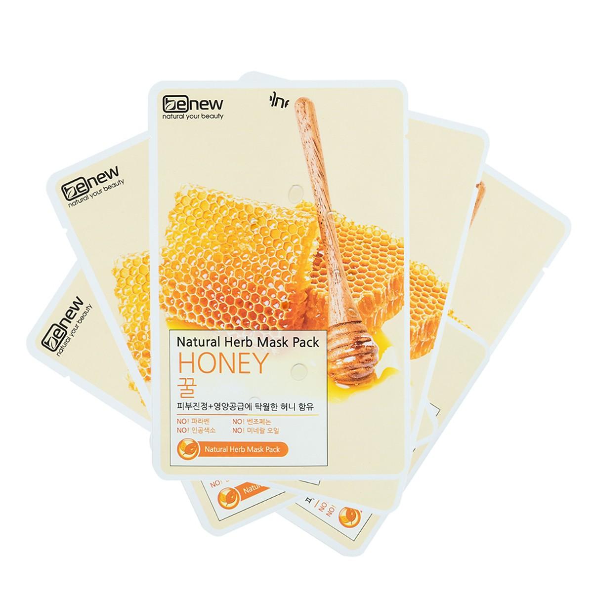 Combo 10 Miếng Mặt Nạ Giấy Mật Ong Benew Natural Herb Mask Honey (22ml / miếng ) [ Tặng dây cột tóc ]