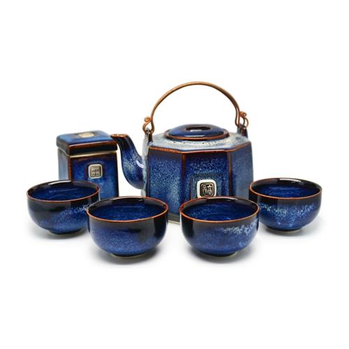 Bộ  trà quà tặng Ấm trà Bát giác Men  Đông Gia Xanh sóng biển 8094