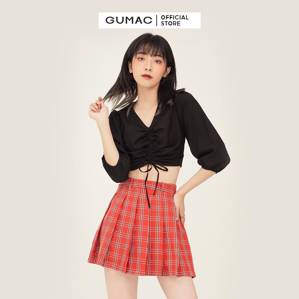 Áo kiểu nữ nhún ngực tay phồng GUMAC AB384