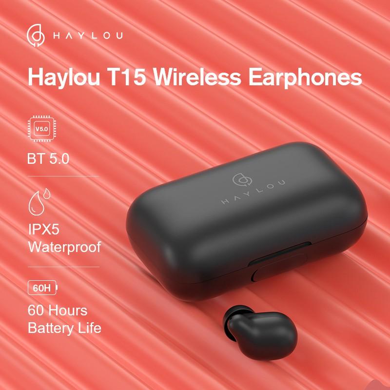 Tai Nghe True Wireless HAYLOU T15 - Tích Hợp Sạc Dự Phòng 2200mAh - Hàng Chính Hãng