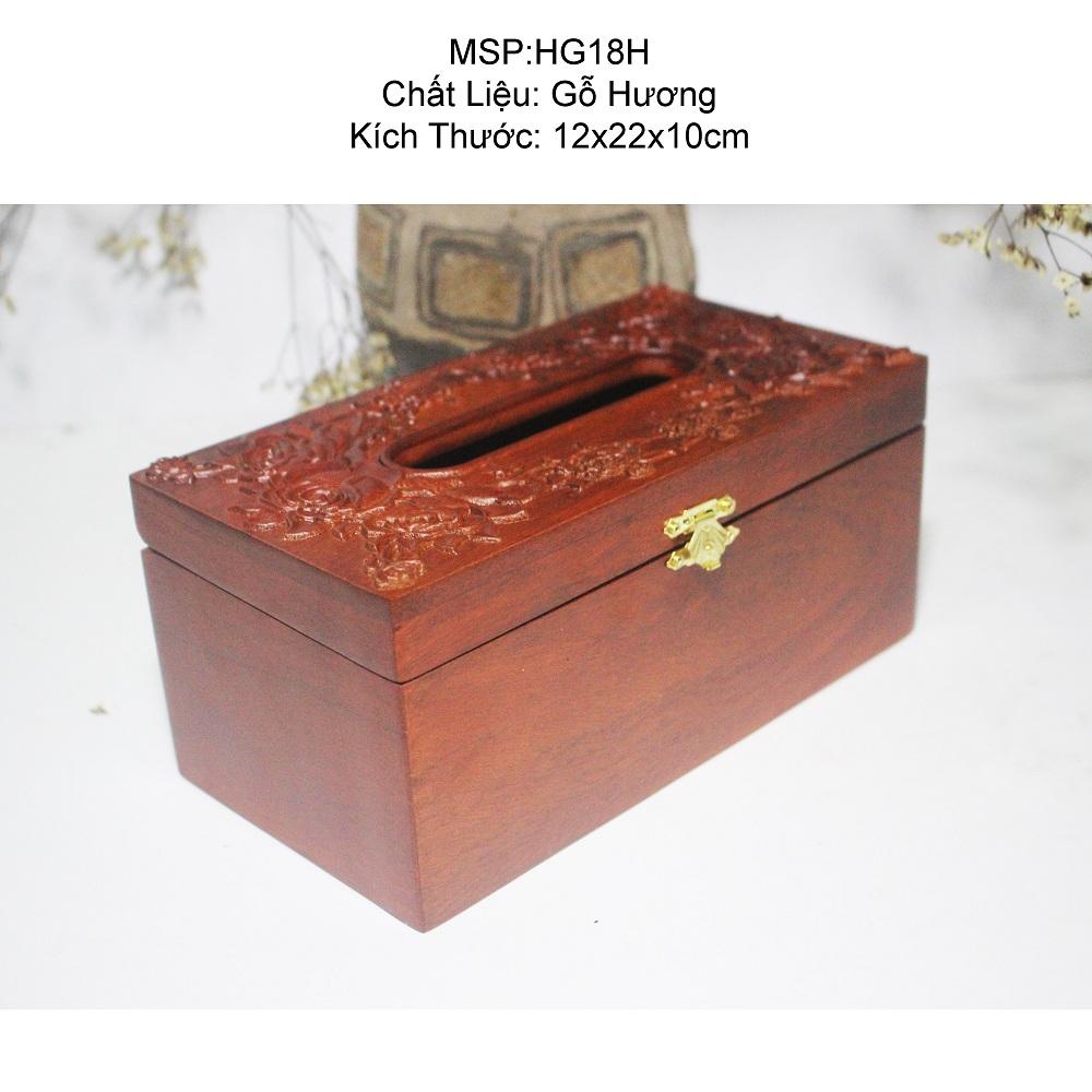 Hộp đựng giấy ăn Hoa hồng nổi to Gỗ Hương - HG18H