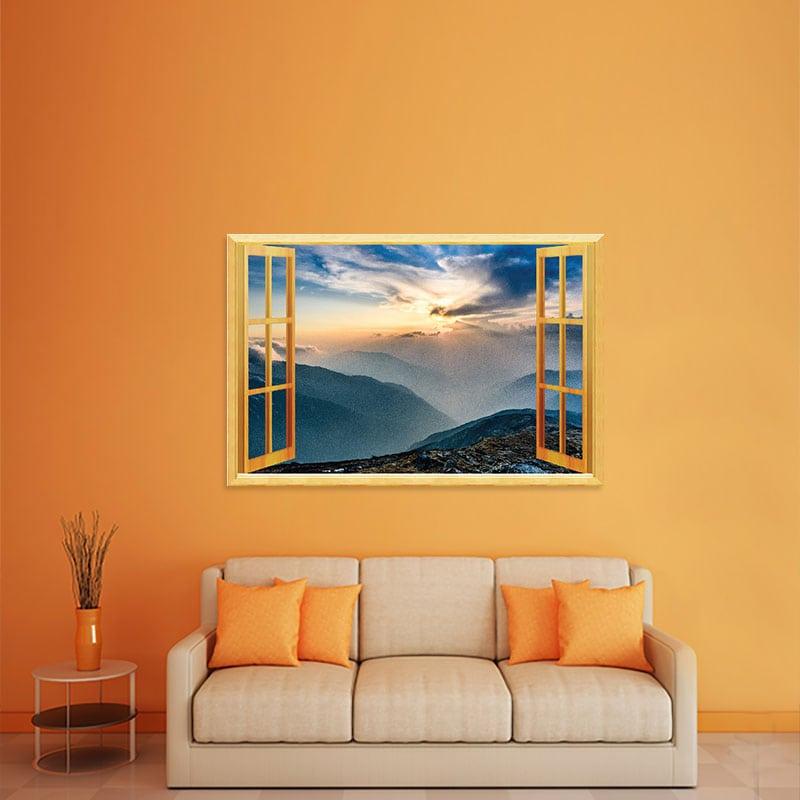 Decal cửa sổ Núi đồi mù sương WD107 | Decal dán tường PVC cao cấp