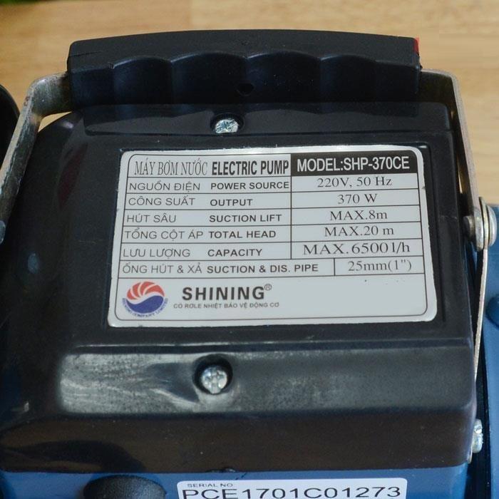 MÁY BƠM NƯỚC SHINING SHP-370CE (370W- THUỘC MÁY BƠM NƯỚC LY TÂM)- HÀNG CHÍNH HÃNG