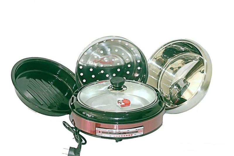 Nồi Lẩu Điện Nướng Hấp 4.5L Hayasa Đa Năng Công Suất 1300W Chất Liệu Inox An Toàn (Màu Ngẫu Nhiên) -Hàng Nhập Khẩu