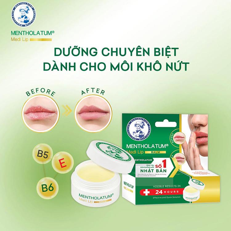 Sáp dưỡng môi chuyên biệt dành cho môi khô, nứt nẻ Mentholatum Medi Lip Balm  (7g) | Tiki