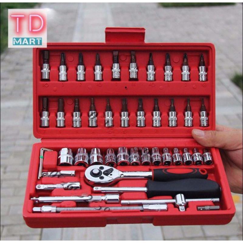 Bộ dụng cụ 46 chi tiết mở bu lông ốc vít - Bộ sửa chữa ô tô xe máy - Bộ dụng cụ 46 món - Thép chống gỉ