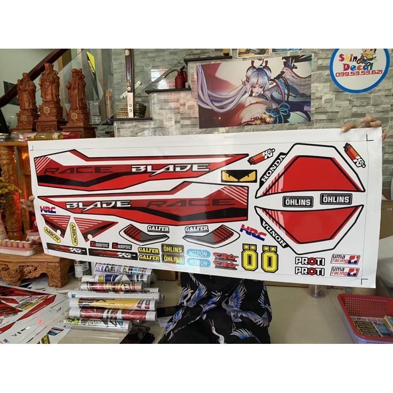 Tem xe dành cho honda wave blade 110 đỏ đen