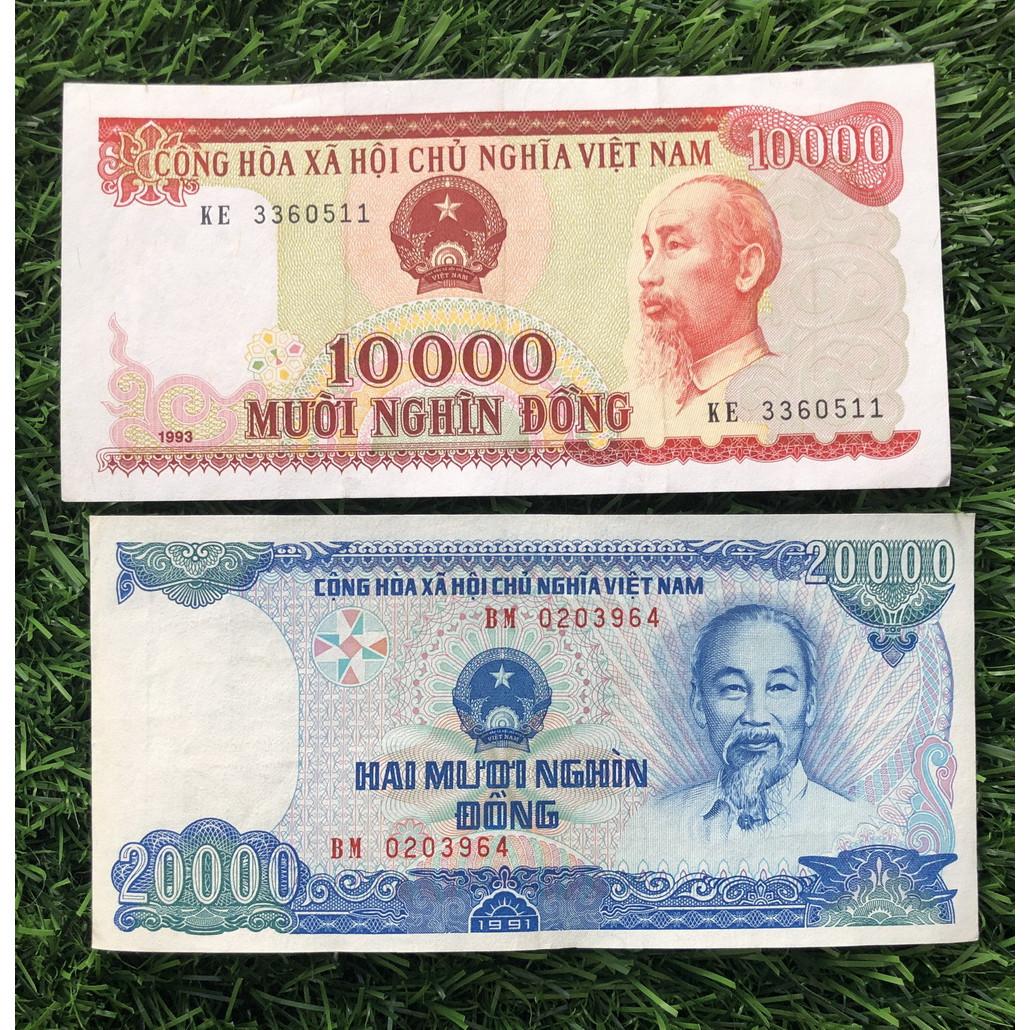 Combo 2 tờ 10000 đồng đỏ 1993 và 20000 đồng xanh dương 1991 xưa sưu tầm, đi kèm bao lì xì