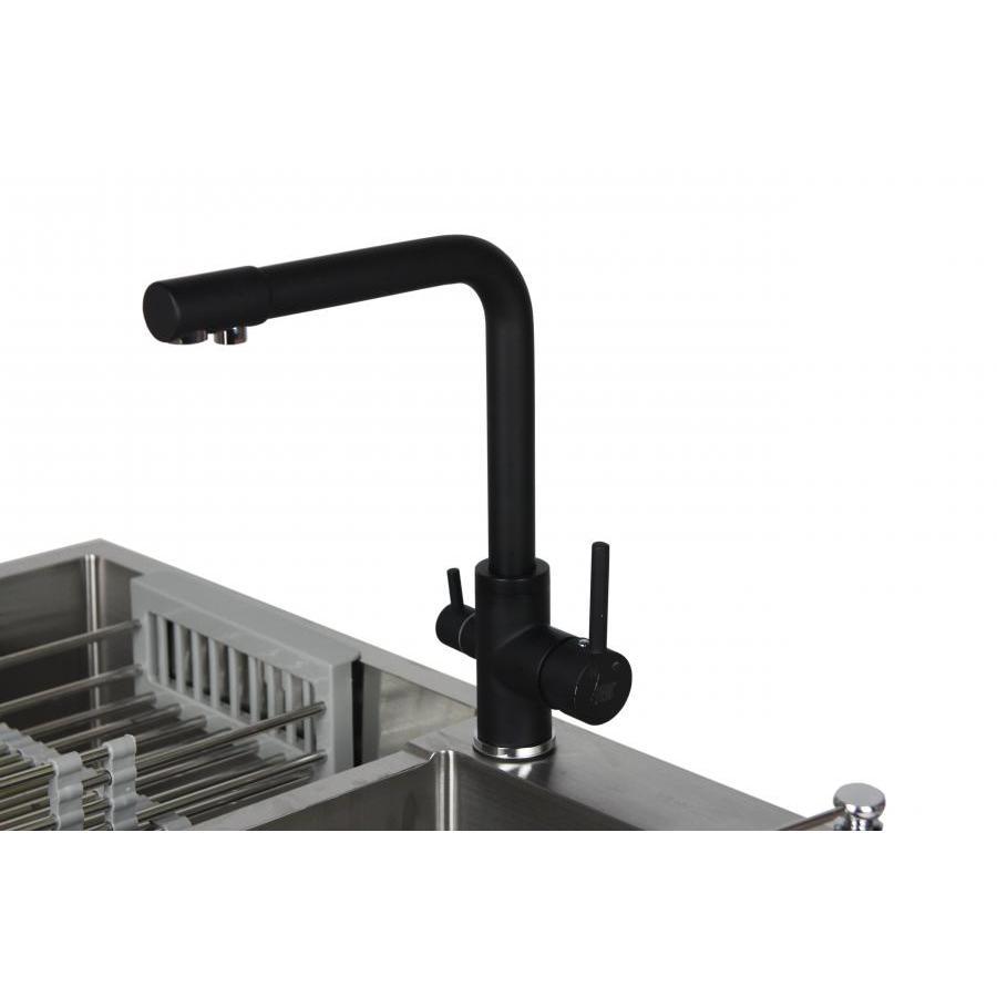 Vòi rửa bát 3 đường nước sơn tĩnh điện màu đen PB109  Bảo hành  5 năm