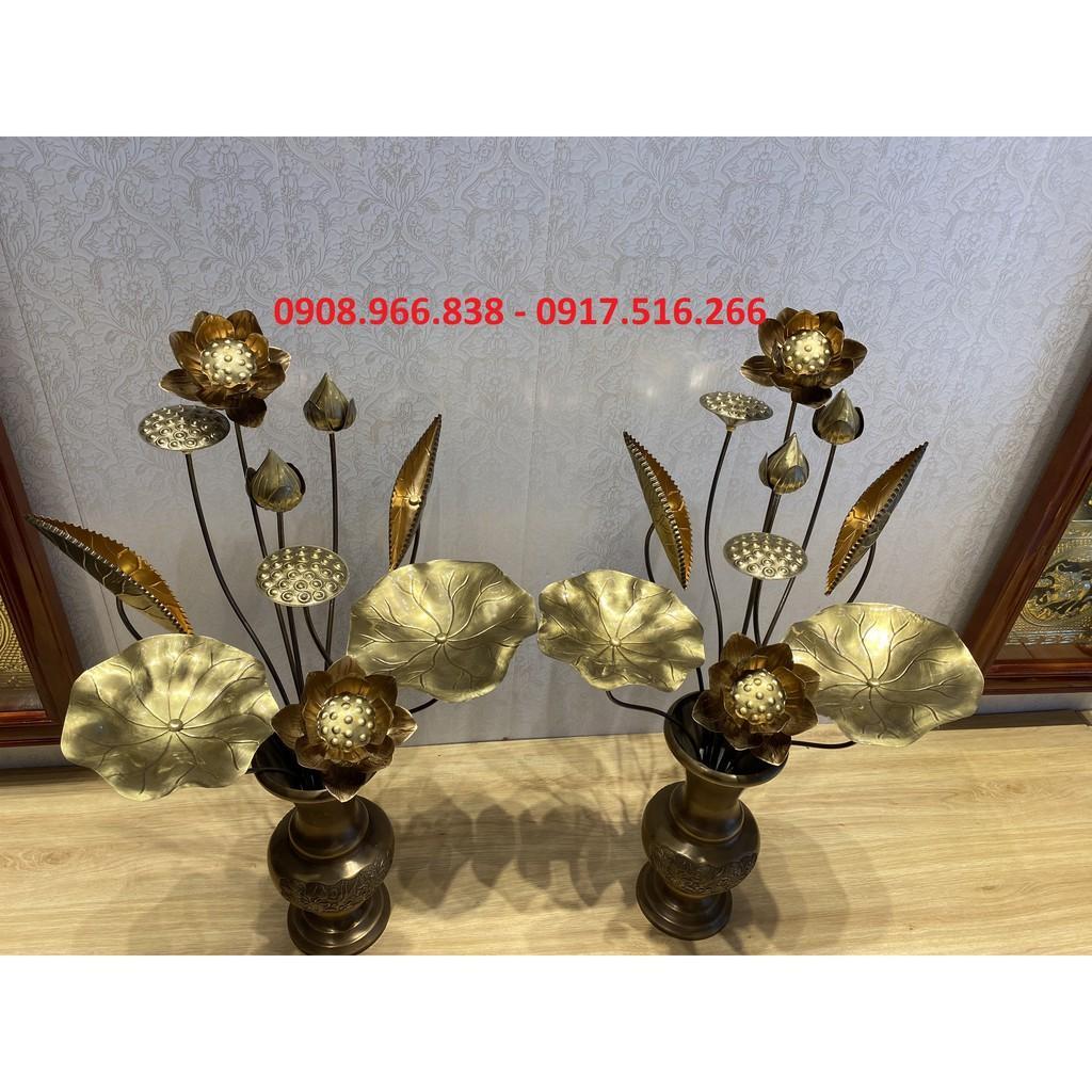 ĐÔI BÌNH hoa sen bằng đồng vàng pha đỏ 10 bông (cỡ nhỏ)