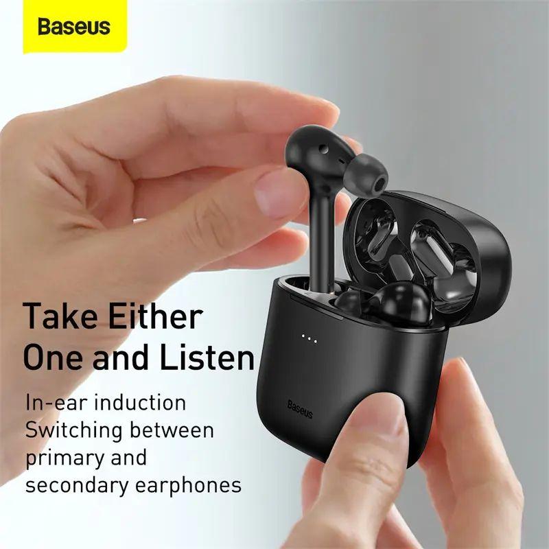 Tai nghe Bluetooth Baseus Encok W06 True Wireless Earphones hỗ trợ sạc không dây Qi , chống nước IP55 , âm thanh APT-X  - Hàng nhập khẩu
