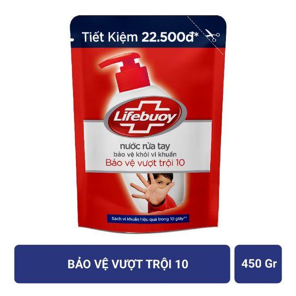 COMBO Nước rửa tay Lifebuoy Bảo vệ vượt trội 10 (Đỏ) Chai 500g và túi 450ml
