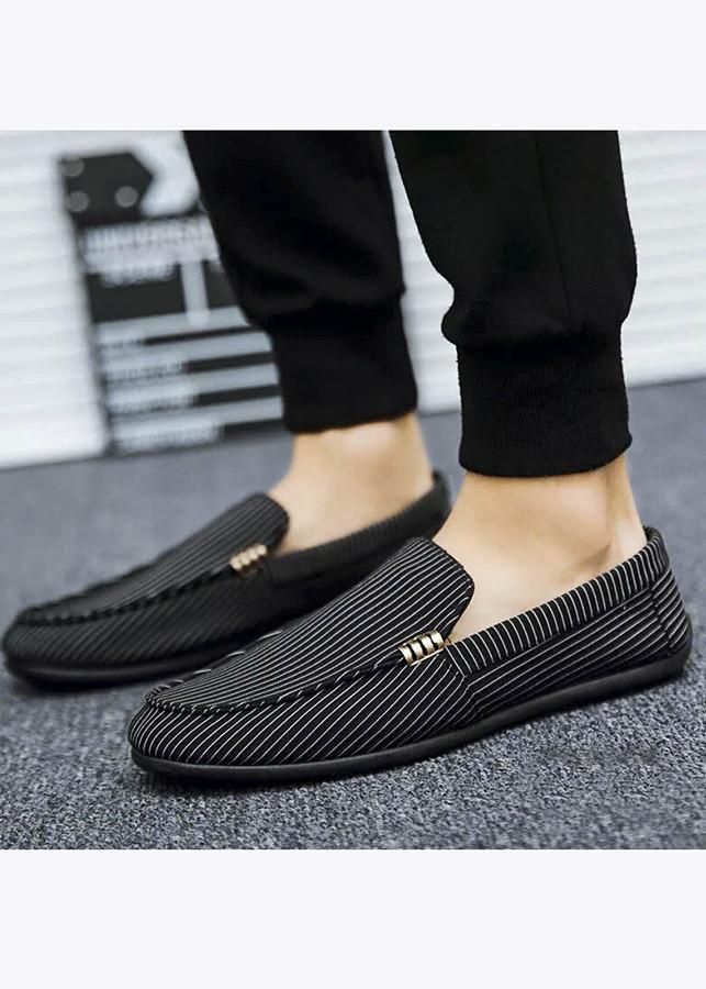 Giày Lười Nam Phong Cách Hàn Quốc Tazano - Màu Đen sọc trắng SV15