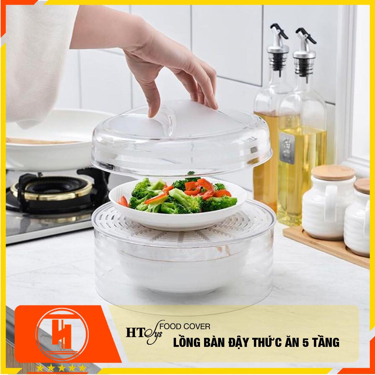 Lồng bàn đậy đồ ăn HT SYS - 5 tầng - Chất liệu PP trong suốt - Bảo quản đồ ăn, thức ăn chống bụi và côn trùng