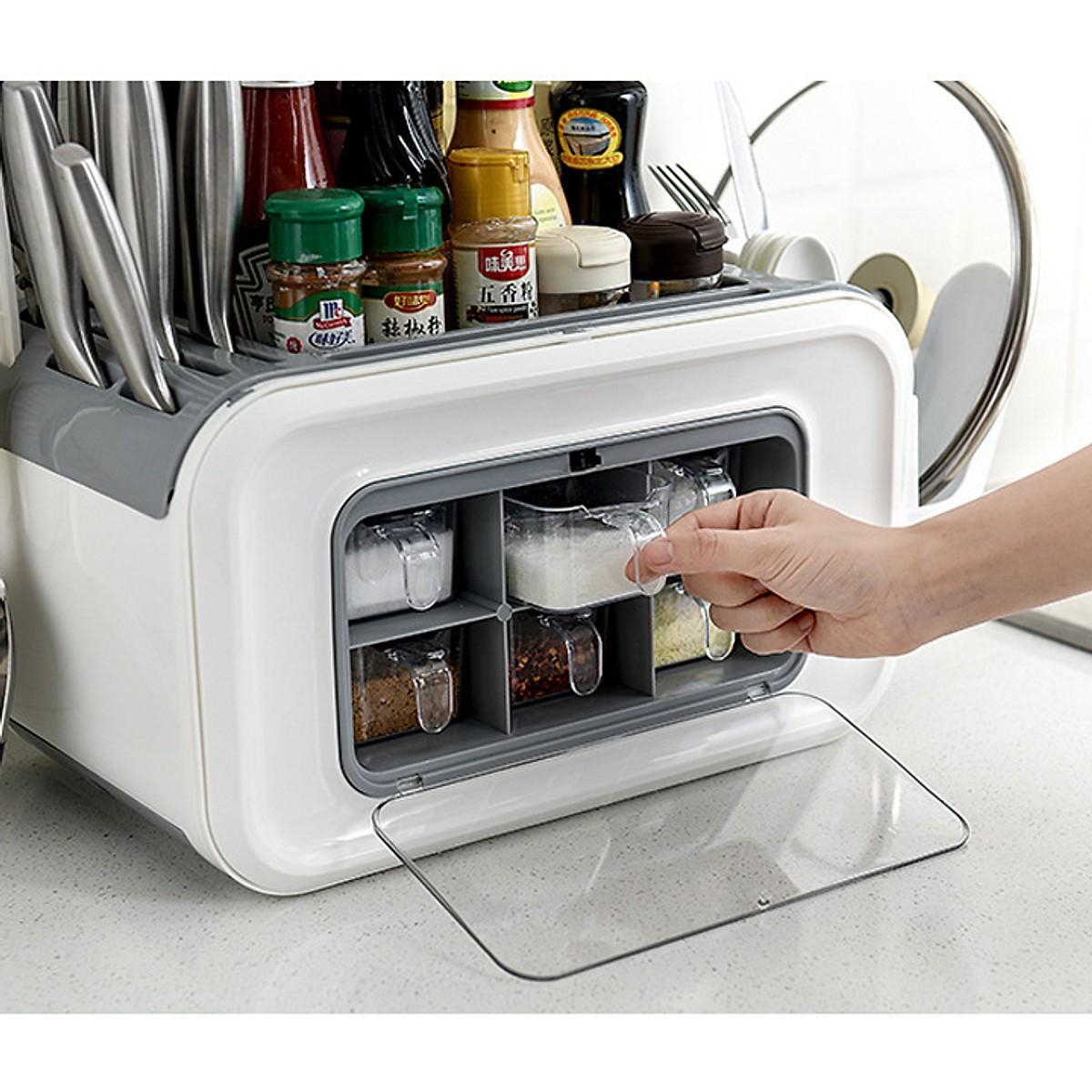 Kệ đựng gia vị nhà bếp đa năng có khay để thớt dao đũa và hũ đựng gia vị tiện dụng thiết kế nhỏ gọn hình chữ nhật thông minh, tiện ích TZX 088 màu ngẫu nhiên