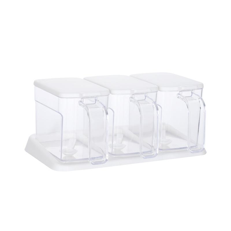 Combo 3 Hủ Đựng Gia Vị Cao Cấp Bằng Nhựa Trong Suốt Kèm Thìa (Muỗng) - Bật Nắp Chỉ Với Một Tay