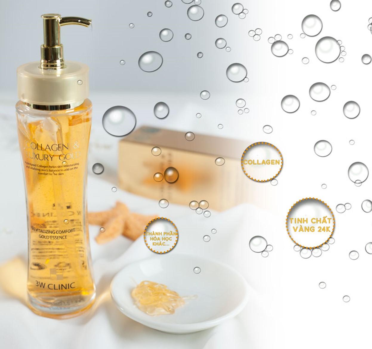 Tinh Chất Vàng Dưỡng Trắng, Tái Tạo Da 3W Clinic Collagen & Luxury Gold 150ml
