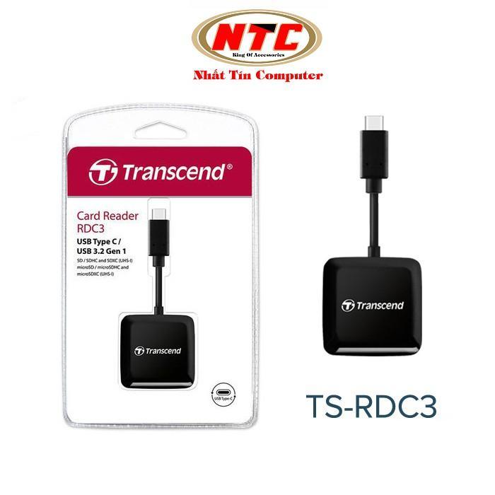 Đầu đọc thẻ nhớ TypeC Transcend TS-RDC3 Gen 1 - hỗ trợ khe microSD/SD (Đen)