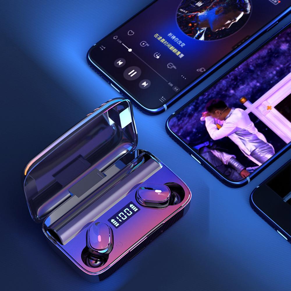 Tai nghe bluetooth A9 cảm ứng chạm thông minh, chống nhiễu tốt, đèn Led theo dõi mức pin dễ dàng cùng dung lượng pin khủng có thể sạc được cho điện thoại- Hàng nhập khẩu