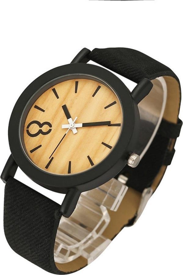 Đồng hồ quartz mặt gỗ dây da phong cách vintage